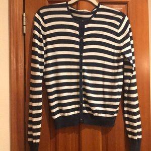 CAbi navy/cream striped sweater